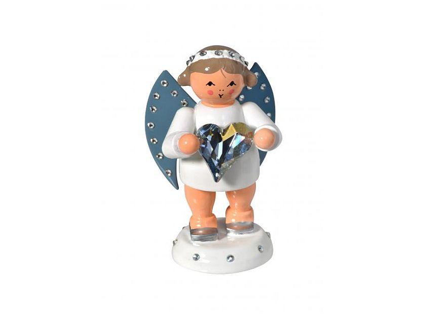 KWO - angel friendship messenger with blue Swarovski heart with light base