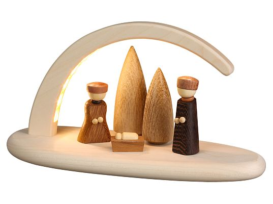 Seiffen Handcraft - Candle Arch Illuminated Light Arch Nativity Scene USB 5V