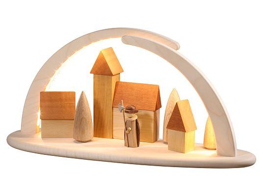 Seiffen Handcraft - Candle Arch Illum. Light Arch, Night Watchman Scene, USB, 5V