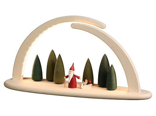 Seiffen Handcraft - Candle Arch Illuminated Light Arch motive Santa Gnome USB 5V