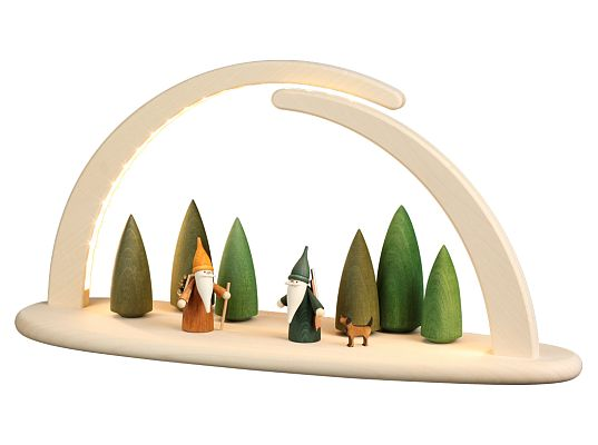 Seiffen Handcraft - Candle Arch Illuminated Light Arch motive Forest Scene USB 5V