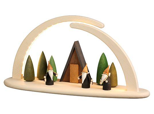 Seiffen Handcraft - Candle Arch Illuminated Light Arch motive Mining Gnomes USB 5V