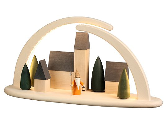 Seiffen Handcraft - Candle Arch Illuminated Light Arch motive Town Scene with Night Watchman Gnome USB 5V