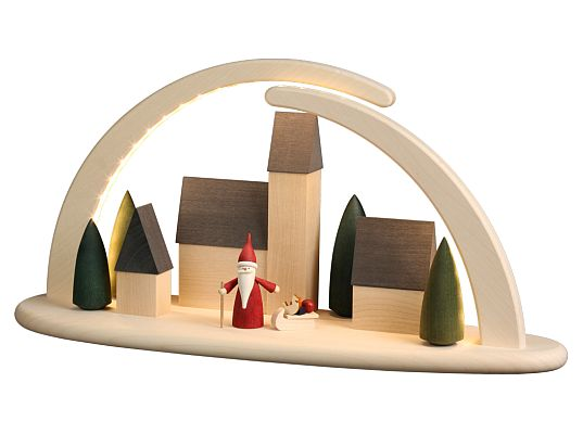 Seiffen Handcraft - Candle Arch Illuminated Light Arch motive Town Scene with Santa Gnome USB 5V
