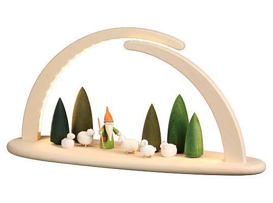 Seiffen Handcraft - Candle Arch Illuminated Light Arch motive Shepherd Gnome USB 5V