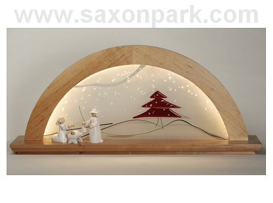 KWO - Illuminated Christmas arch with glass Red fir tree, without figurines