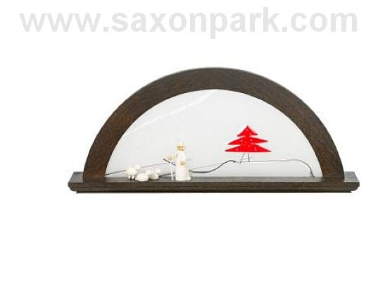 KWO - Illuminated Christmas arch Red fir tree, oak wood, colour bog oak (without figurines)