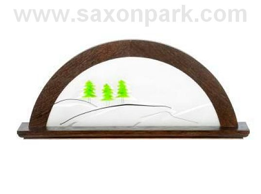 KWO - Illuminated Christmas arch Green fir tree, oak wood, colour bog oak (without figurines)
