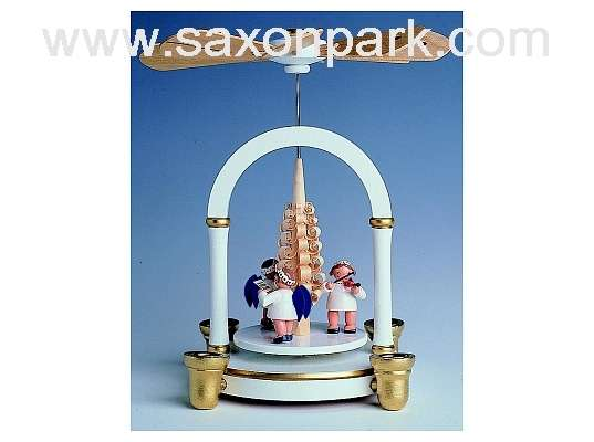 KWO - Christmas pyramid,1 tier w. angels,white