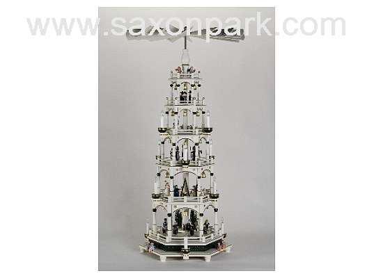 KWO - Christmas pyramid 5 tier, white/green, e