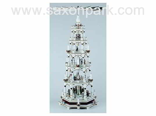 KWO - Christmas pyramid 5 tier,elec white/bord