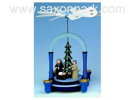 KWO - Christmas pyramid,blue-gr.,Christ. birth
