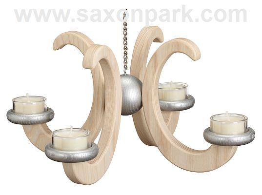 Seiffen Handcraft - Candleholder Ceiling Candle Holder, Ash Wood natural