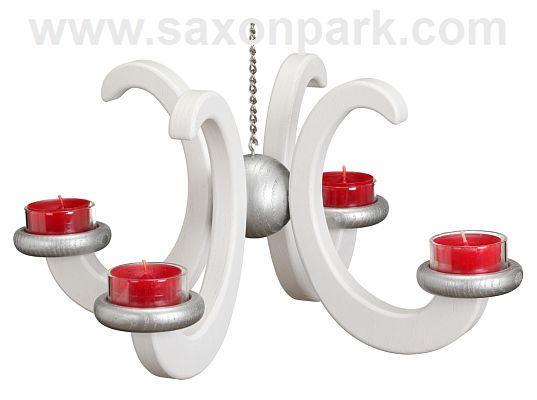 Seiffen Handcraft - Candleholder Ceiling Candle Holder, Ash Wood white colored