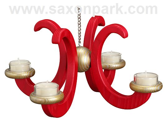 Seiffen Handcraft - Candleholder Ceiling Candle Holder, Ash Wood red colored