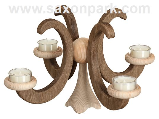 Seiffen Handcraft - Candleholder Table Candle Holder, Oak Wood Natural dark