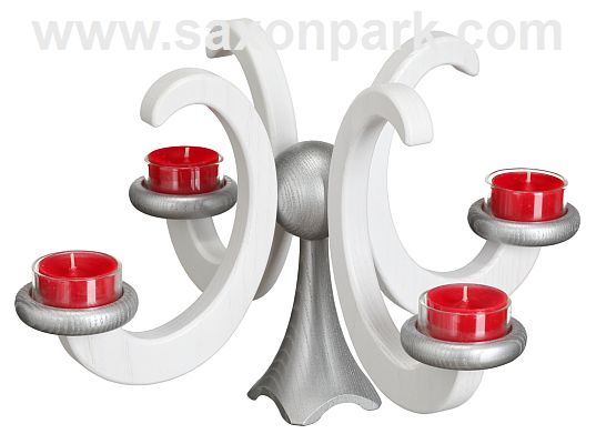 Seiffen Handcraft - Candleholder Table Candle Holder, Ash Wood white colored