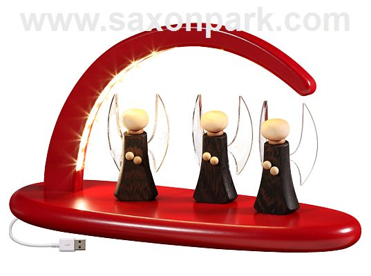 Seiffen Handcraft - Candle Arch Illuminated Light Arch, red with Angel, USB, 5V