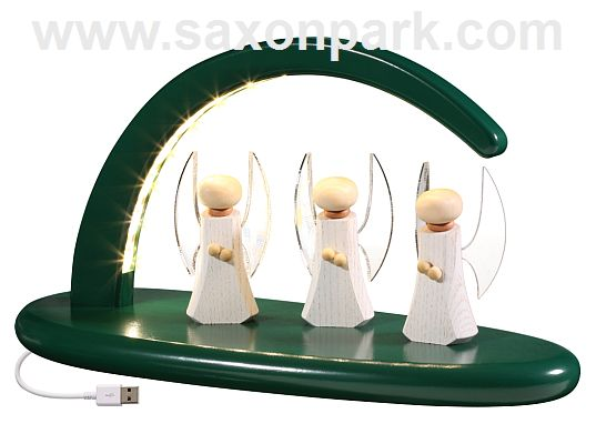 Seiffen Handcraft - Candle Arch Illuminated Light Arch, green with Angel, USB, 5V