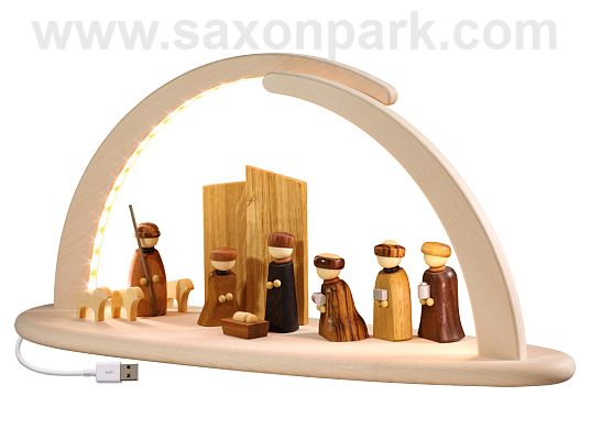 Seiffen Handcraft - Candle Arch Illuminated Light Arch, Nativity Scene, USB, 5V