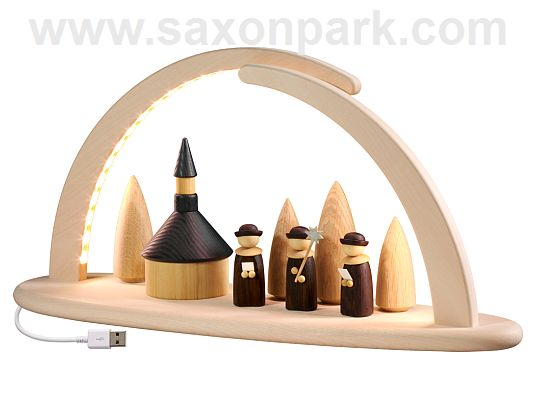 Seiffen Handcraft - Candle Arch Illuminated Light Arch, Church and Christmas Choir, USB, 5V