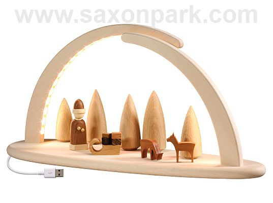 Seiffen Handcraft - Candle Arch Illuminated Light Arch, Christmas Scene, USB, 5V
