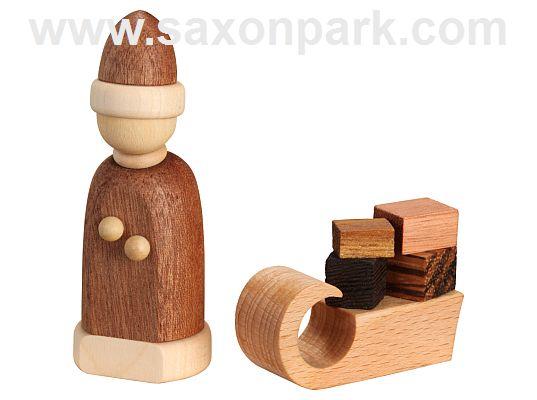 Seiffen Handcraft - Miniature Santa Claus with Sleigh
