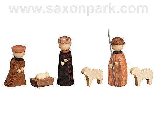 Seiffen Handcraft - Miniature Nativity Scene with Shepherd and Sheep