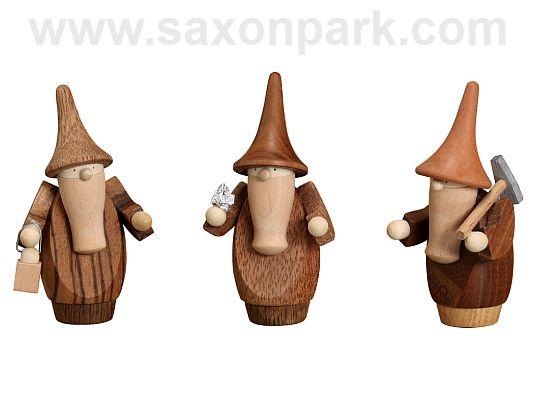 Seiffen Handcraft - Miniature Gnomes, Set of Three