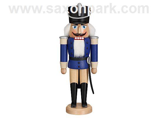 Seiffen Handcraft - Nutcracker Hussar  blue soft colored