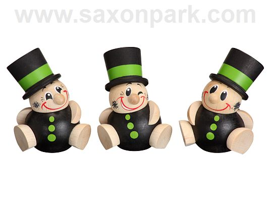 Seiffen Handcraft - Ball-shaped Figure Chimney Sweep, Set of Three
