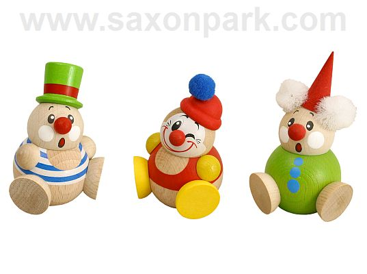 Seiffen Handcraft - Ball-shaped Figure Funny Clown, Set of Three