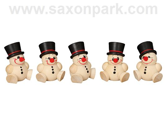 Seiffen Handcraft - Ball-shaped Figure Cool Man, ornament, Set of Five