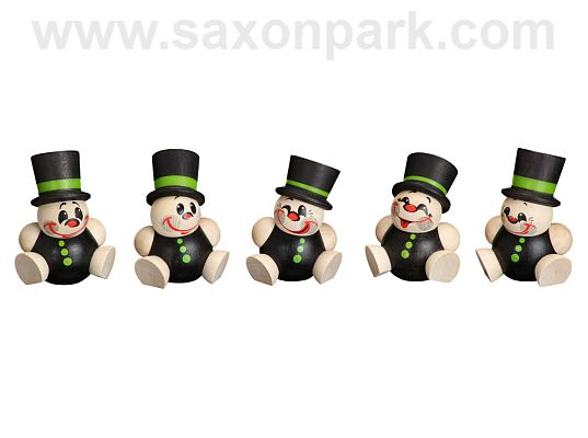 Seiffen Handcraft - Ball-shaped Figure Chimney Sweep, ornament, Set of Five
