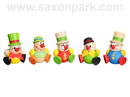 Seiffen Handcraft - Ball-shaped Figure Funny Clown, ornament, Set of Five