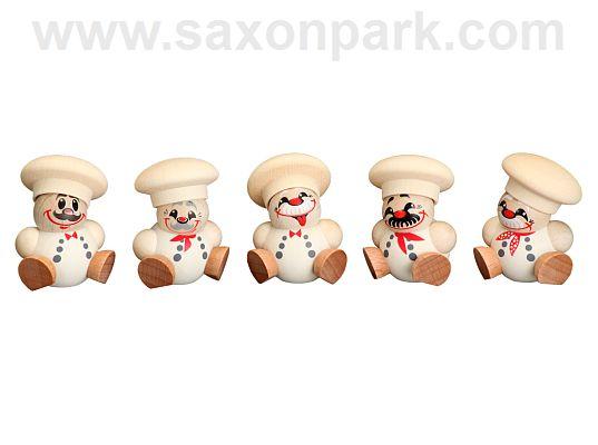 Seiffen Handcraft - Ball-shaped Figure Chef, Set of Five