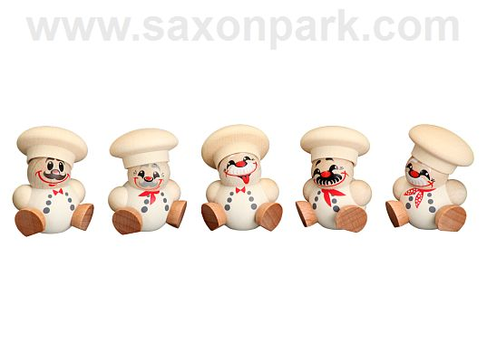 Seiffen Handcraft - Ball-shaped Figure Chef, ornament, Set of Five