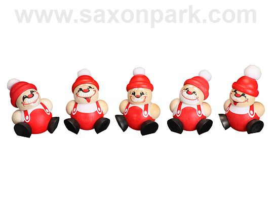 Seiffen Handcraft - Ball-shaped Figure Santa Claus, ornament, Set of Five