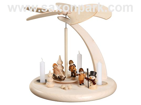 Seiffen Handcraft - Pyramid Arch Pyramid, Children in Winter for candles