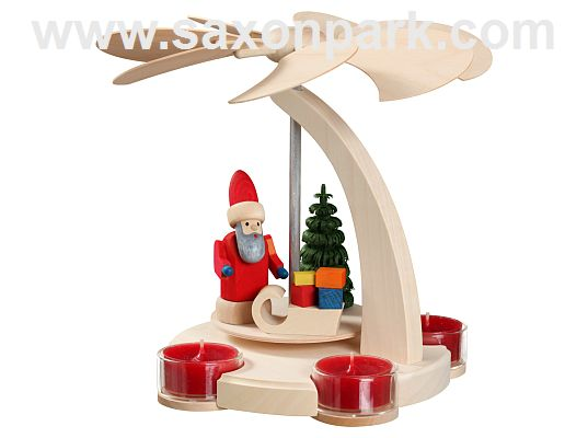 Seiffen Handcraft - Pyramid Arch Pyramid, small, Santa Claus with Sleigh