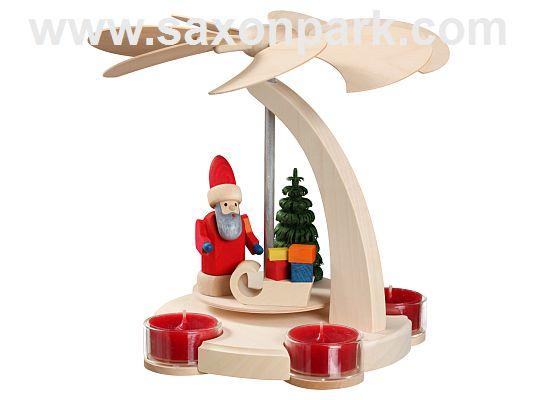 Seiffen Handcraft - Pyramid Arch Pyramid, small, Santa Claus with Sleigh