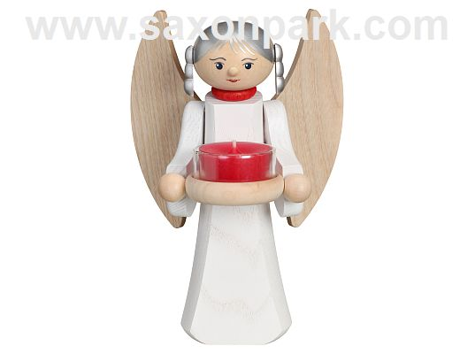 Seiffen Handcraft - Candles Figure Angel with Wings of natural Wood, Candleholder