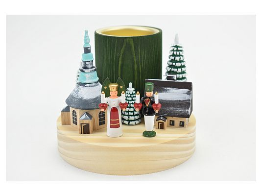 Candle holder (tea light) winter village Seiffen with angel and miner