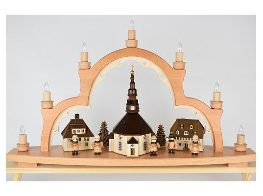 Lenk - candle arch Seiffener Kirche with carol singers and light