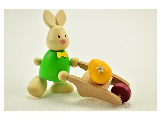 Hobler - bunny Max with wheelbarrow with egg