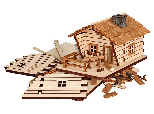 Seiffen Handcraft - Wooden Kit Wooden House Kit, Cabin Incense Smoker