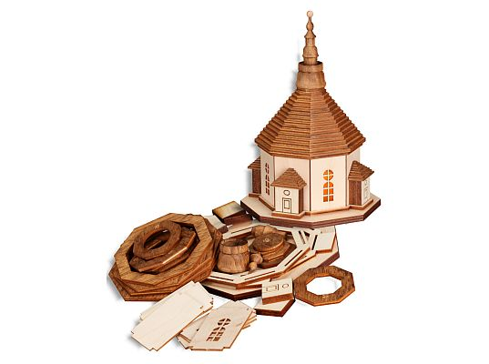 Seiffen Handcraft - Wooden Kit Wooden House Kit, Seiffen Church with Lights