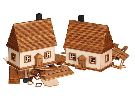Seiffen Handcraft - Wooden Kit Wooden House Kit, Small Houses, Set of Two
